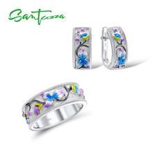 Juego de joyas de plata de santuza hecho a mano de colores pendientes de anillo de flores esmaltado Plata de Ley 925 conjunto de joyas de moda para fiestas de mujeres