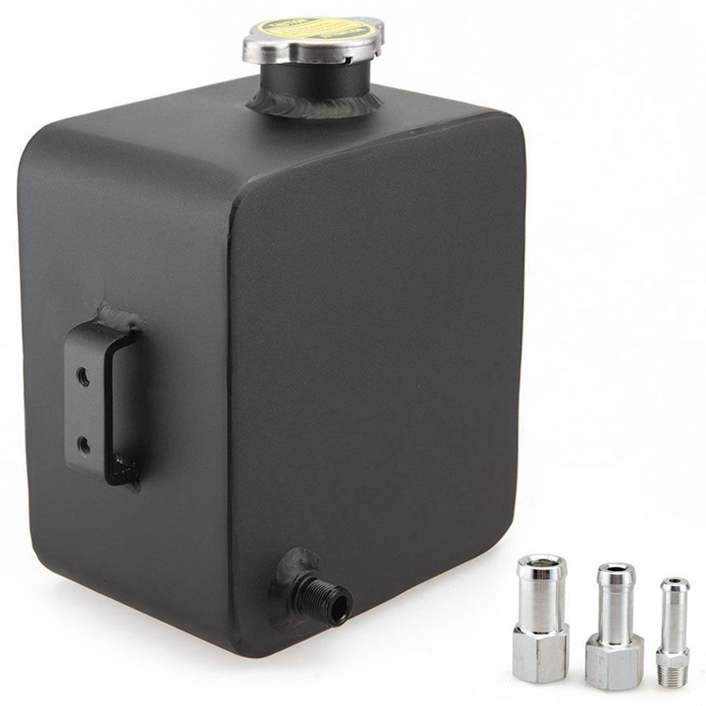 Black Universal 2.5L Aluminium Alloy Water Coolant Header Overflow Expansion Tank Reservoir