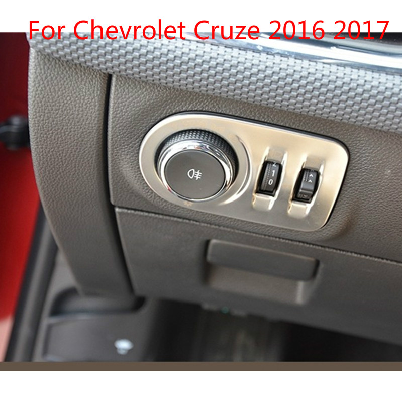 stainless steel front lamp light switch button knob trim for Chevrolet Cruze 2016 2017 Car-styling Car-covers