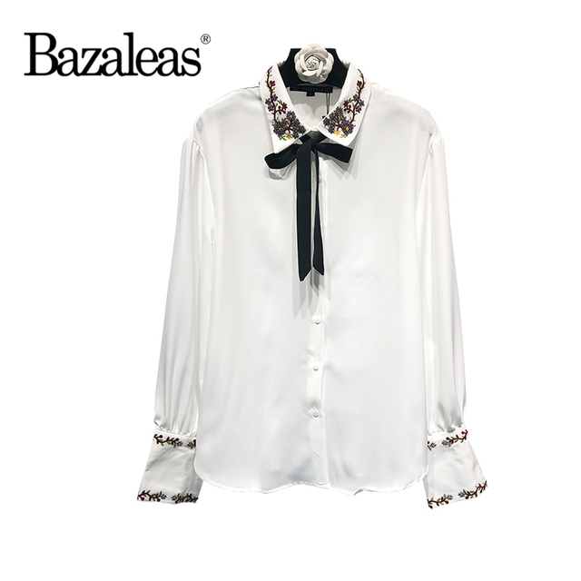 3e5b2eef1c9c21 Bazaleas 2018 Spring Embroidery bow Shirt with a tie Pearls Beads Women  blouse Casual White Chiffon Silk shirt Tops