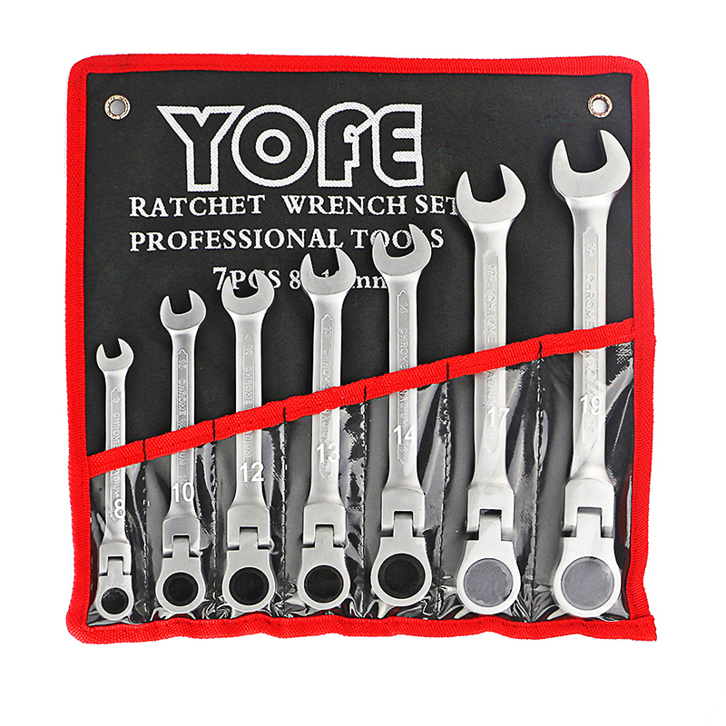 B 8,10,12,13,14,17,19mm 7 Sets Flexible Head Ratchet Spanner Combination Wrench Auto Repair Spanners Wrench Handle ools AD2007 8 10 13mm flexible head ratchet spanner combination torque wrench set auto repair hand tool for car kit a set keys chavead2006