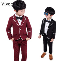 School Boys Suit for Weddings Prom Party 2T 12Y Children Slim Fit Suit Sets Boys Formal Blazer Pants 2pcs Bowtie Costume F135