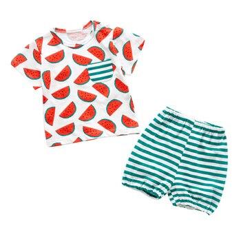 VERATI 2018 Summer New Kids Baby Boy Clothes Cute Watermelon Print Baby Set Cotton Baby Casual Short Sleeve T-shirt Sets V104