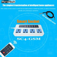 SC4 SC3 GSM 4 Outlets Wireless Smart Switch Power Plug socket with temperature sensor GSM SIM Card Phone/Call/SMS Remote Control