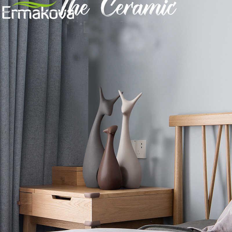 ERMAKOVA 3 Pcs Família Dos Cervos Figurinhas Estátuas de Decoração Para Casa de Moda Moderna Cerâmica Ornamento Ornamento de Figuras de Animais