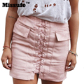 Missufe Lace Up Faux Leather PU Sude Bandage Skirt 90's Vintage Pocket Casual Short Skirt 2016 Winter High Waist Women Skirts