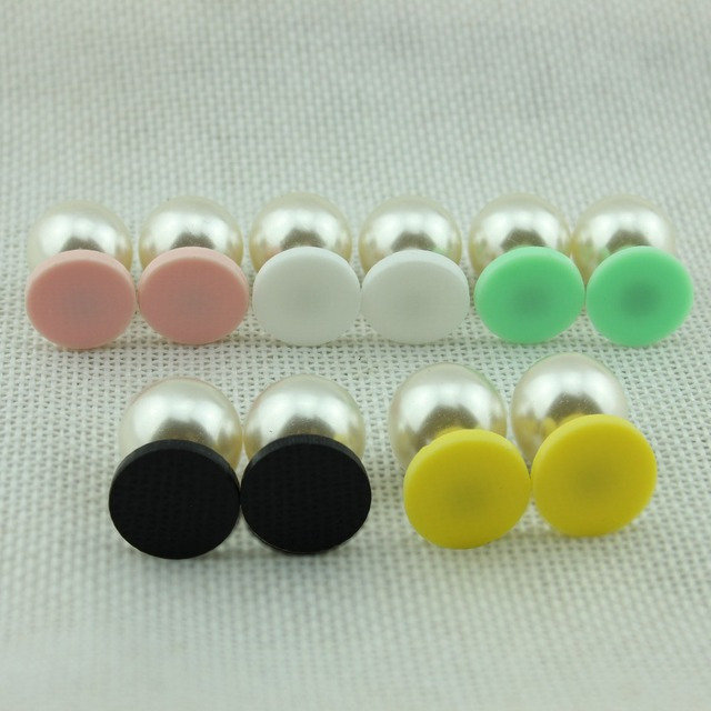 Monogram Blank Round Acrylic Double Sided Pearl Earrings For Women 2017 New Brand Designer Jewelry