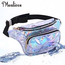 Mealivos New Holographic Fanny Pack ლაზერული წელის პაკეტები Heuptas Hip Bag ქალის წელის ბანანის ბანანის ჩანთები წელის ჩანთა Unisex cintura