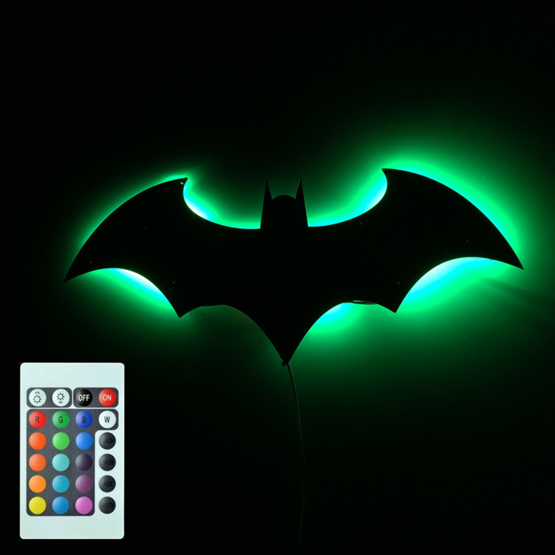 3D Batman LED Wall Light 7 Color Remote Control Night Light Mirror Projection Wall lamp Living Room Porch Aisle Wall Sconce Kids