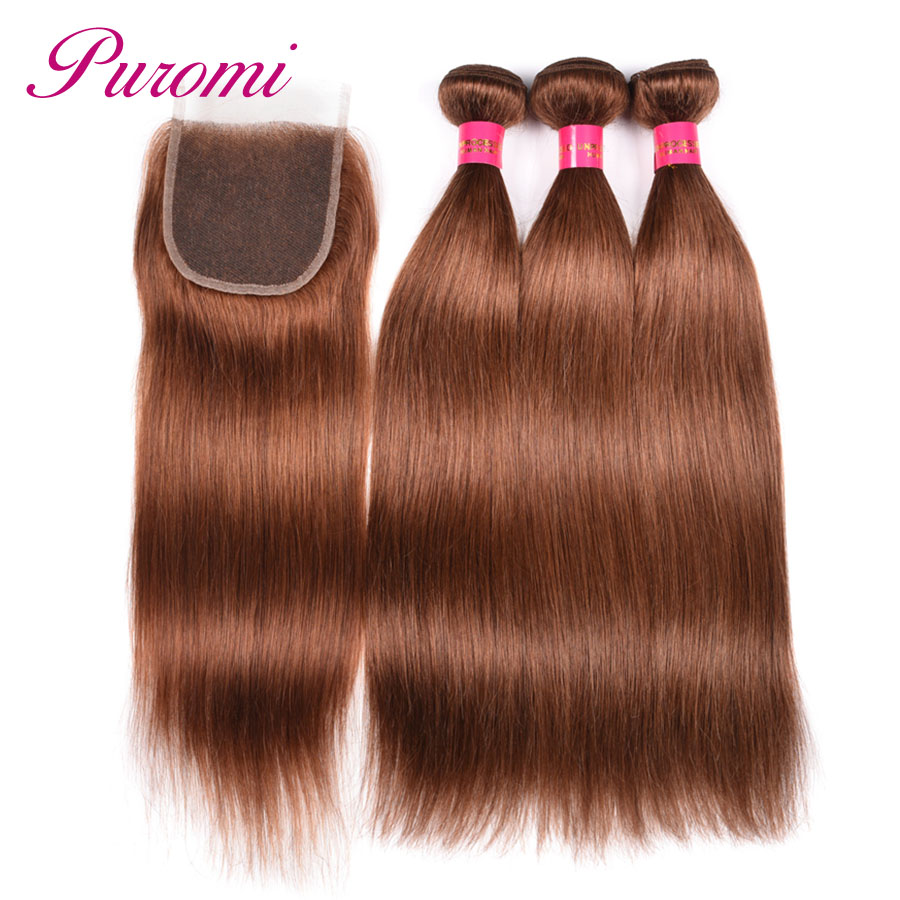 Puromi Brazilian Body Wave Hair Extensions Brown Pre Colored 30 Non Remy 100 Human Hair 10