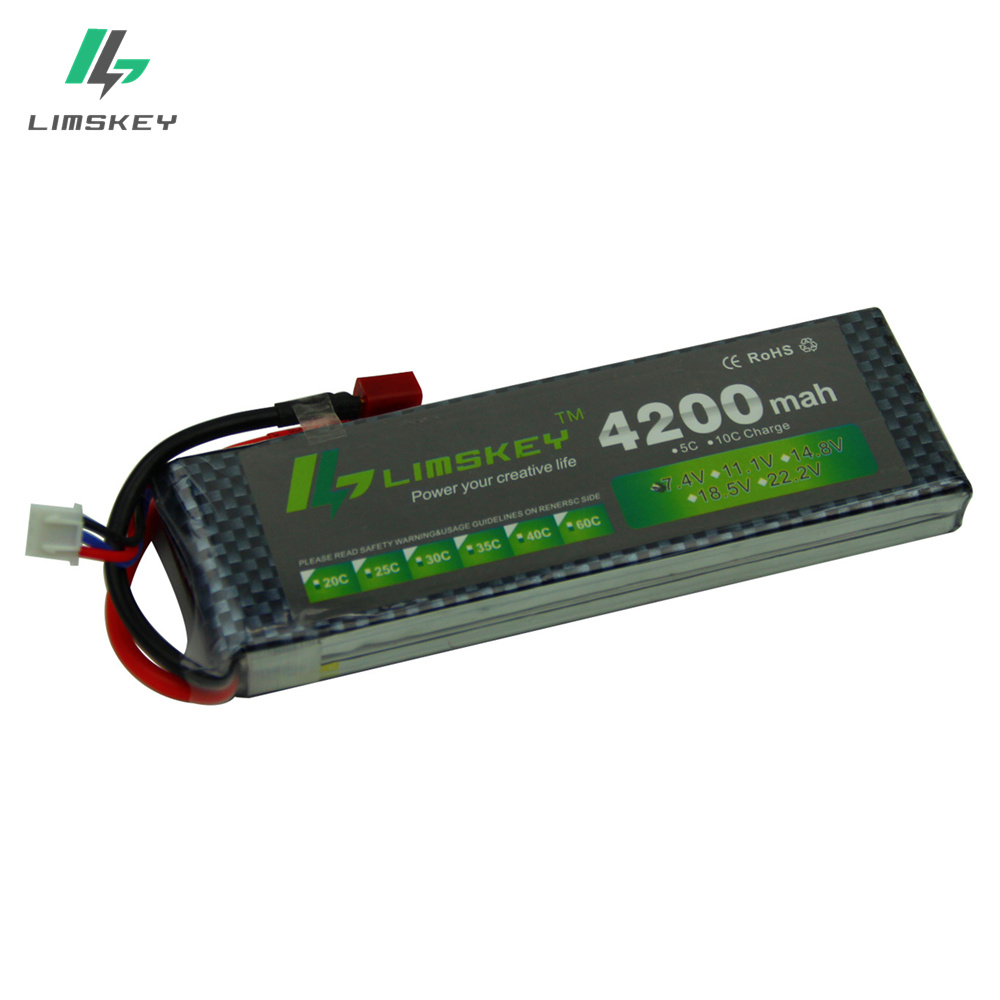 Limskey POWER 7.4V 4200mAh 25C 2S LiPo Battery With T/XT60 Plug for RC Car Airplane Helicopter 7.4 V 4200 mah 2S Lipo Battery extra spare floureon xt60 plug 14 8v 4200mah 30c battery for rc helicopter airplane boat model