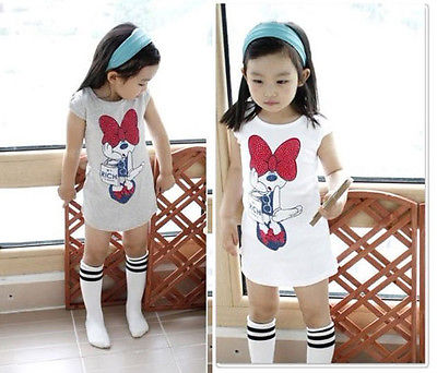 Kids Girls Minnie Long T-shirt Birthday Party Dress Bow Clothes Girl Dress  3-8Y