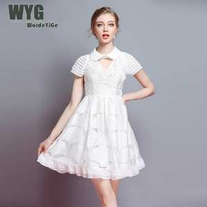 Wordeyige Mini Dress 2018 Summer Striped White Black Pink 8641bddd63