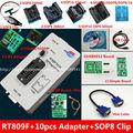 Frete grátis 100% Recentes origanil RT809F LCD ISP programador + 10 adaptadores + IC sop8 test clip + 1.8 V adaptador + TSSOP8/SSOP8 Adaptador