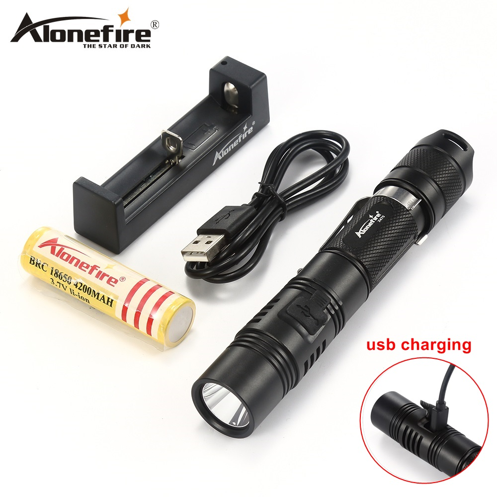 AloneFire X470 led USB Flashlight 18650 Cree XPL Tactical Rechargeable Flashlight Bicycle Light Lanterna Waterproof led torch olga chernobryvets vestito rosso a pois isbn 9785448310492