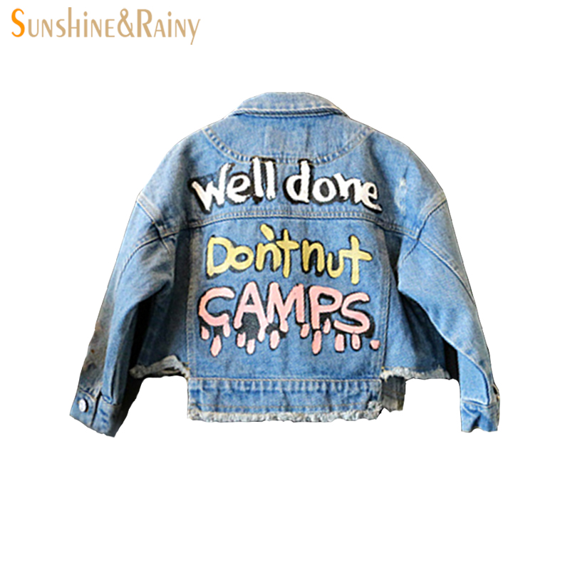Fashion girl jean jacket Letter Graffiti motorcycle jacket kids Boys coat toddler boys blazer denim jacket kids Spring Autumn