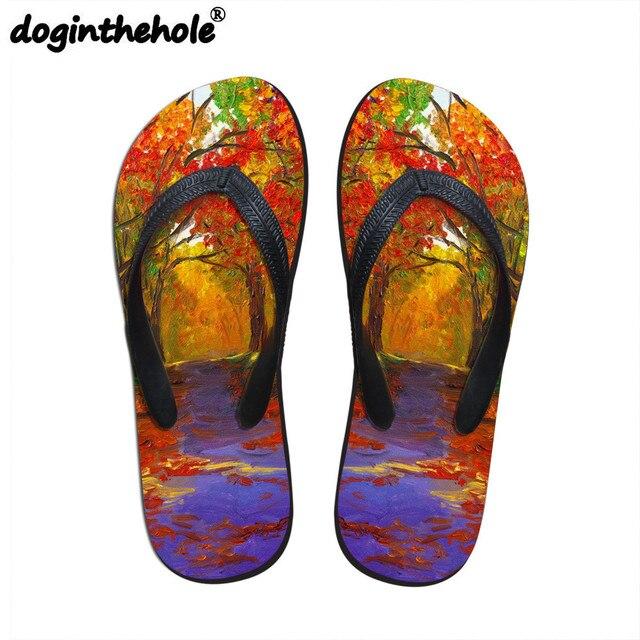 061f11c0462a doginthehole Womens Sport Sandal Flip Flops for Girls Landscape Pattern  Sport Slipper Outdoor Beach Women Shoes Summer Sea Shoes