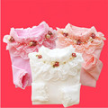 Ropa pura de los niños ropa femenina infantil primavera y otoño camisa básica 2016 de la camiseta del niño del o-cuello long johns