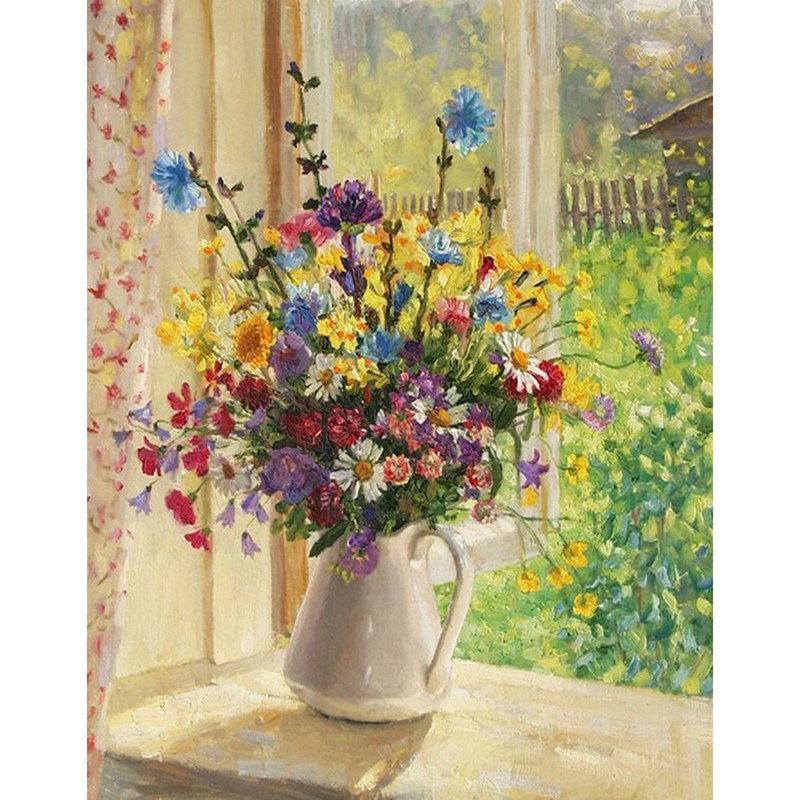 Diamond Painting Art Kit Diy Cross Stitch By Number Kit Diy Arts Craft Wall Decor, Full Drill Flower Of Summer, No Frame(China)