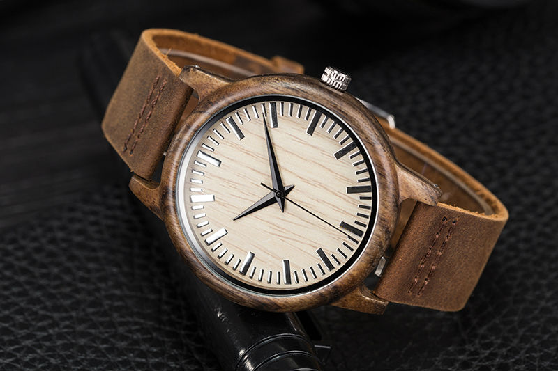 SIHAIXIN Man Watches Classic Luxury Leather Straps Quartz Male Clock Engraved With Personal Text Wood Wristwatch Gift For Him 7