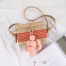 RADISH 2019 New Fashion Square Bag Summer Rattan Handmade Handle Multicolor Style  Bohemia Shoulder