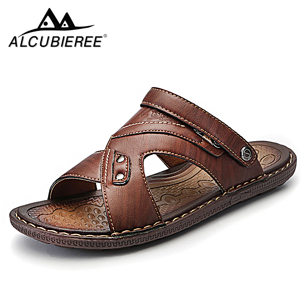 ALCUBIEREE Men Casual Shoes summer leather beach comfortable designer men's breathable For men Slates