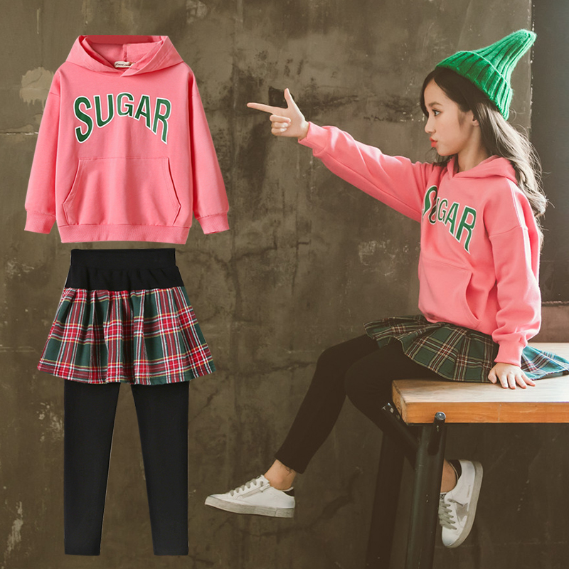 2019 Trend Europe Style Girls Clothing Sets Fashion Letters Print T-shirts Sweatshirts + Skirts Legging 2pcs Children Clothing2019 Trend Europe Style Girls Clothing Sets Fashion Letters Print T-shirts Sweatshirts + Skirts Legging 2pcs Children Clothing