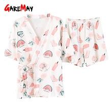 Pyjama en coton blanc pour femme, costume maison, tenue dété, avec imprimé, haut à manches courtes, mignon, ensemble de vêtements de nuit