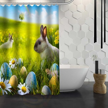 Vixm Hot Sale Custom Easter Bunny Rabbit Spring Shower Curtain Waterproof Fabric Shower Curtain for Bathroom 1