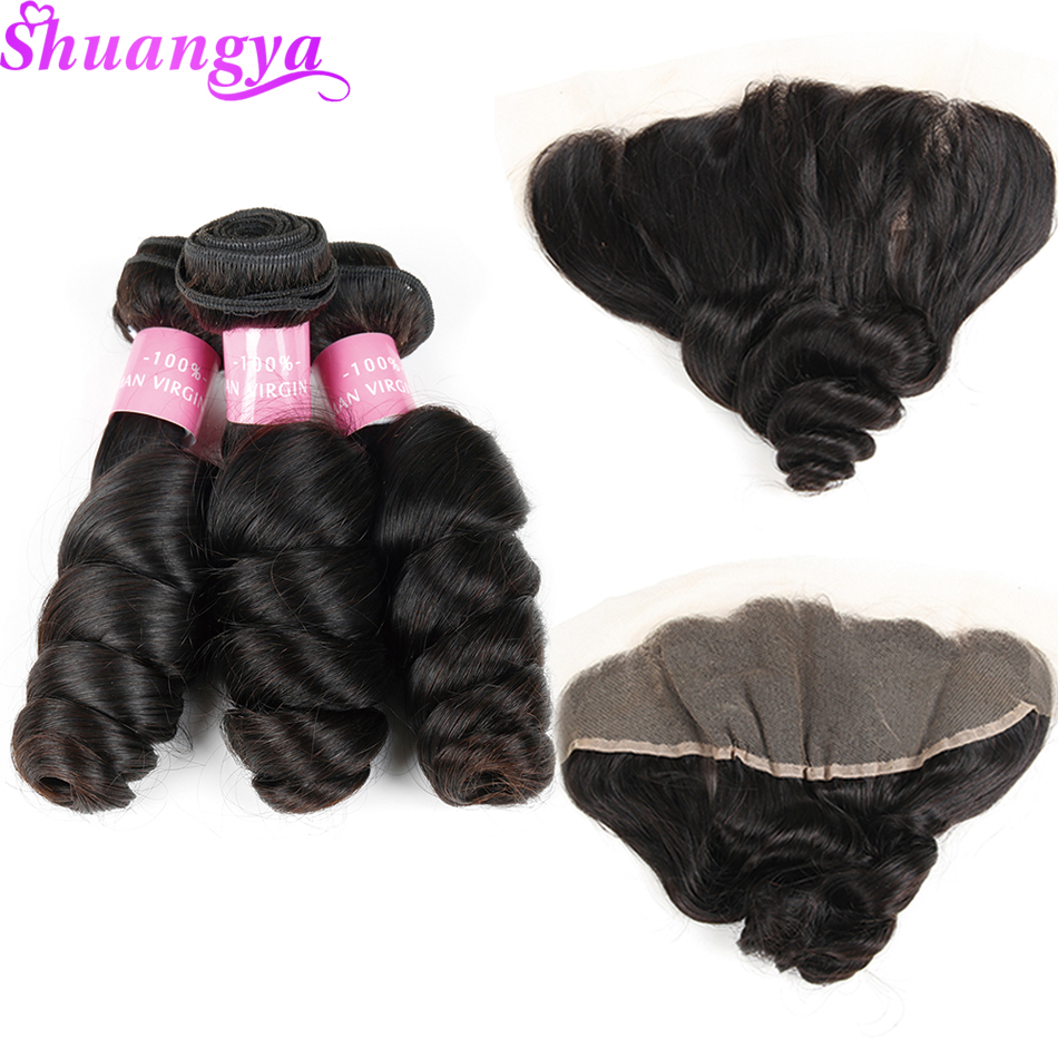 Peruvian Loose Wave Hair Bundles With Frontal 3 Bundles Human Hair Extensions Remy Lace Frontal Closure With Bundles Shuangya