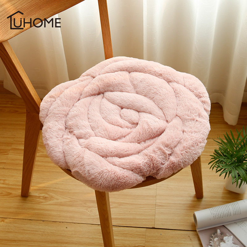 Creative 3D Rose Soft Faux Fur Pillow Cushion Round Chair Seat Cushion Home Office Bar Sofa Throw Pillow Buttocks Chair Cushion
