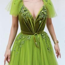 2019 Applie verde vestidos de noche largo A-Line cuello pico Apliques de encaje con cuentas vestidos de noche Formal vestidos de fiesta Vestido de fiesta