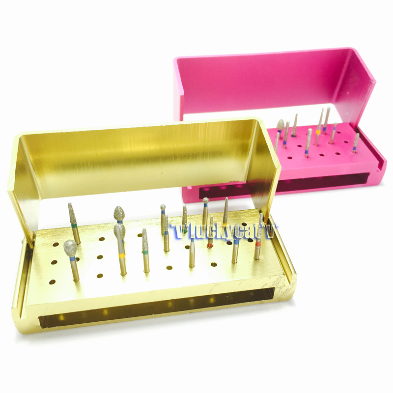 30 Dental Diamond Burs Drill+2 Pcs Dental Aluminium Bur Holder Burs Block Case Box 30 Holes 30pcs dental diamond high speed burs drills for porcelain teeth 1 holder block