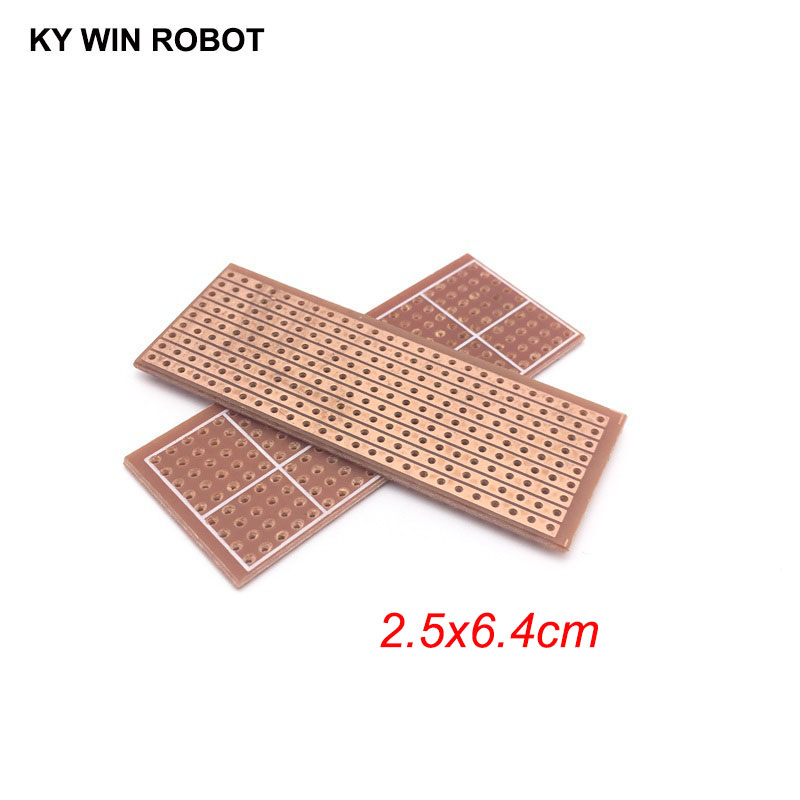 2pcs/lot DIY 2.5x6.4 2.5*6.4CM Prototype Paper PCB Universal Experiment Matrix Circuit Board Single Row Continuous Hole 25x64mm