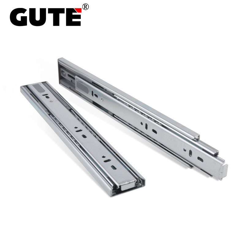 GUTE Hydraulic Damping Buffer Drawer Slide Blue Zinc Plating Drawer Track Furniture Guide Rail Full Extension Side Mount drawer slide rail track three mute hydraulic damping buffer t