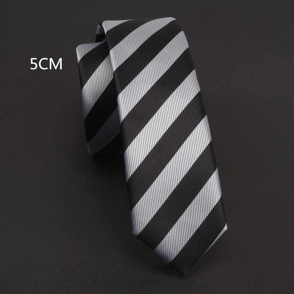 RBOCOTT Slanke Stropdas Zwart Zilver Grijs Voor Man Classic Striped Paisley Stropdas 5cm Mens Skinny Tie Casual Waterdichte Hals ties