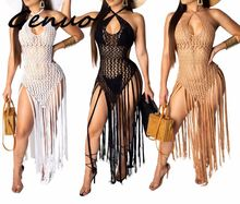 2019 summer Crochet hollow out tassel Beach Cover up dress sexy women bikini Cover ups bathing suit Cover up Robe Plage stylish strapless crochet hollow women s cover up dress