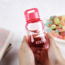 Hot Cartoon mini pupil cute water bottles plastic cup portable children's rope handle cup female PP Grade Free Shipping Top Sell