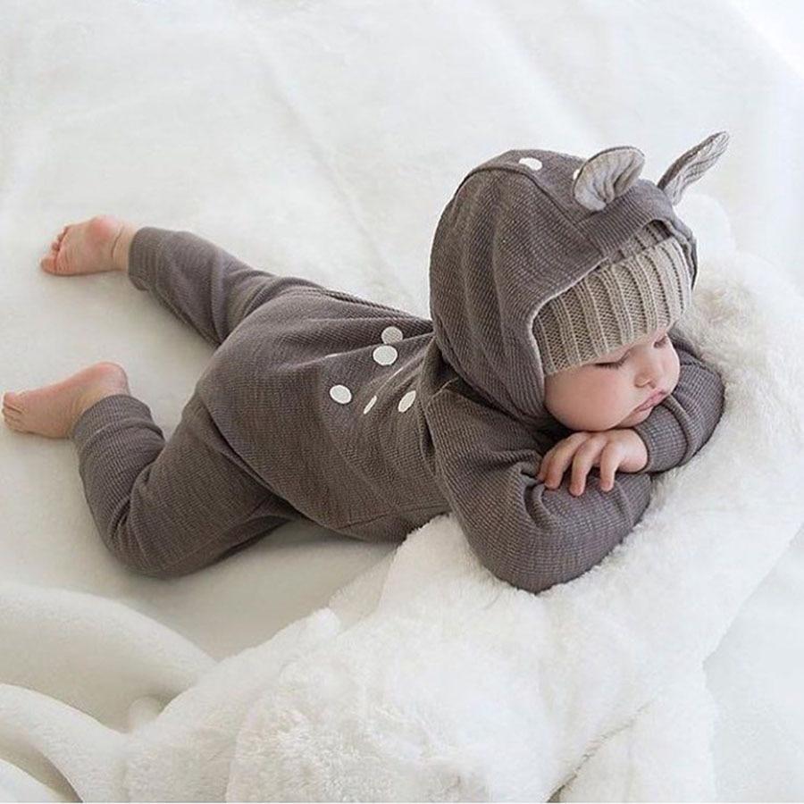 Leuke Animal Bear katoen pasgeboren lange mouw Baby rompertjes terug - Babykleding - Foto 5