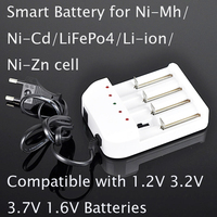 1pcs smart battery charger for 1.2V ni-cd ni-mh 3.7v li-ion 1.6V ni-zn 3.2v lifepo4 AAA AA 10440 14500 18650 26650 16340 CELL