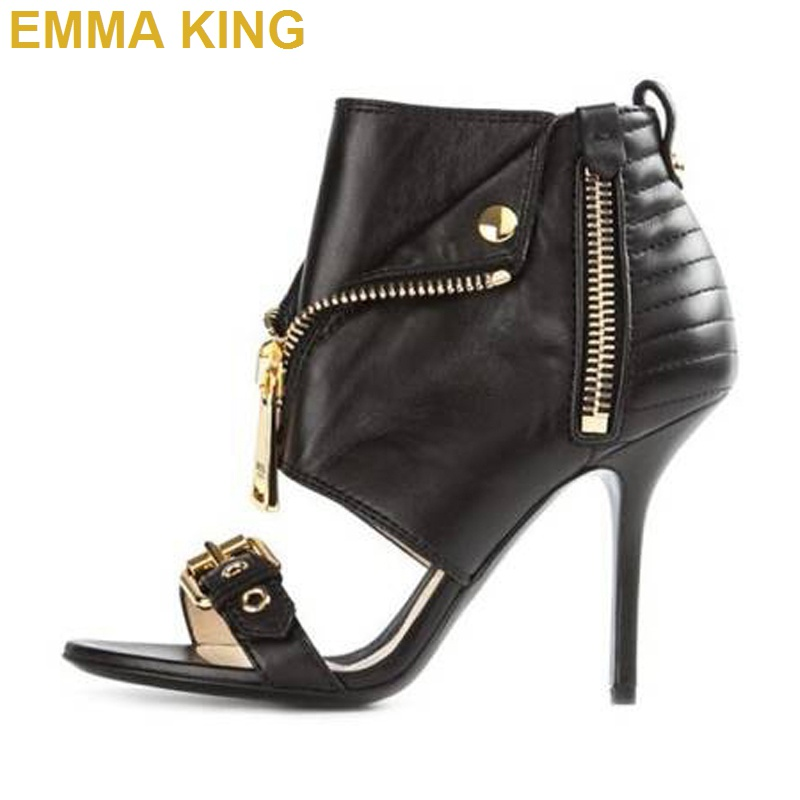 EMMA KING 2019 Brand New Women Zip Design High Heels Summer Gladiator Sandals Black/Red/White/Gold/Pink Sexy Ladies Shoes