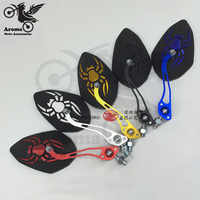 spider decal universal pit bike parts 8MM 10MM motorbike rear view accesorios scooter mirror moto rearview motorcycle rear-view