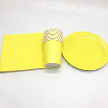 60PCS/LOT SOLID COLOR DISHES KIDS BIRTHDAY PARTY FAVORS YELLOW PLAIN NAPKINS CUPS THEME DECORATIONS