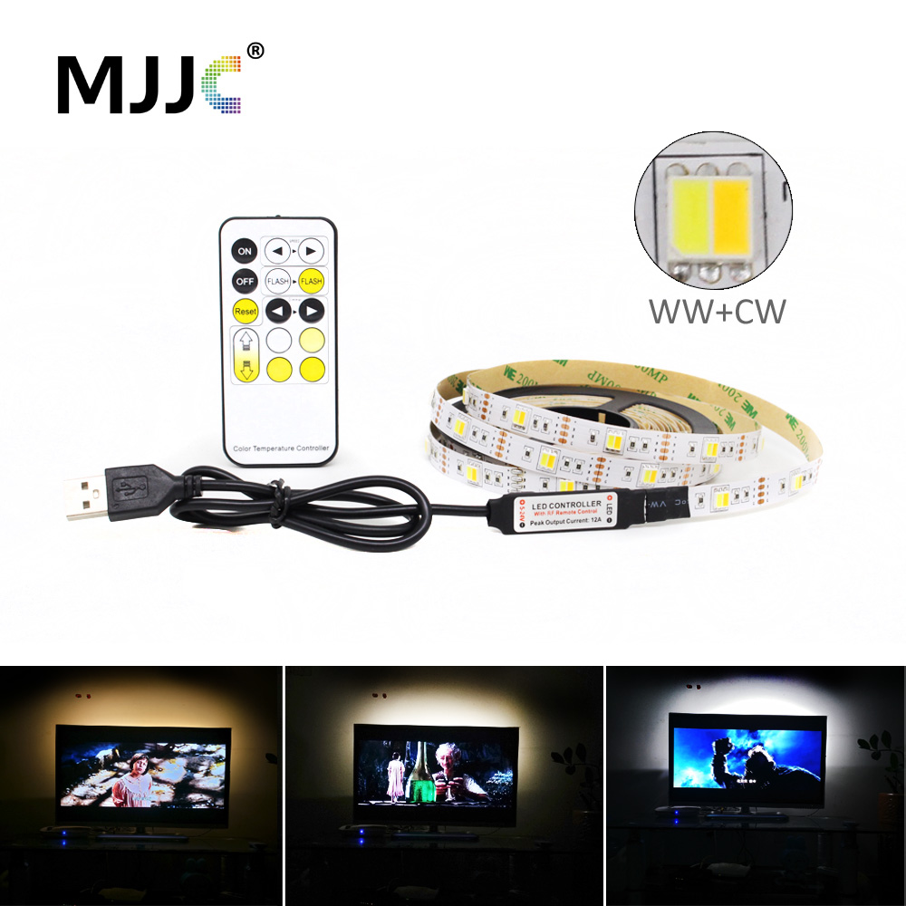 <font><b>LED</b></font> Strip Light CCT USB Dimmable <font><b>5050</b></font> <font><b>5V</b></font> CW WW RF Remote Controller Adjustable PC <font><b>LED</b></font> Stripe Tape Tira USB Backlight TV Lighting image