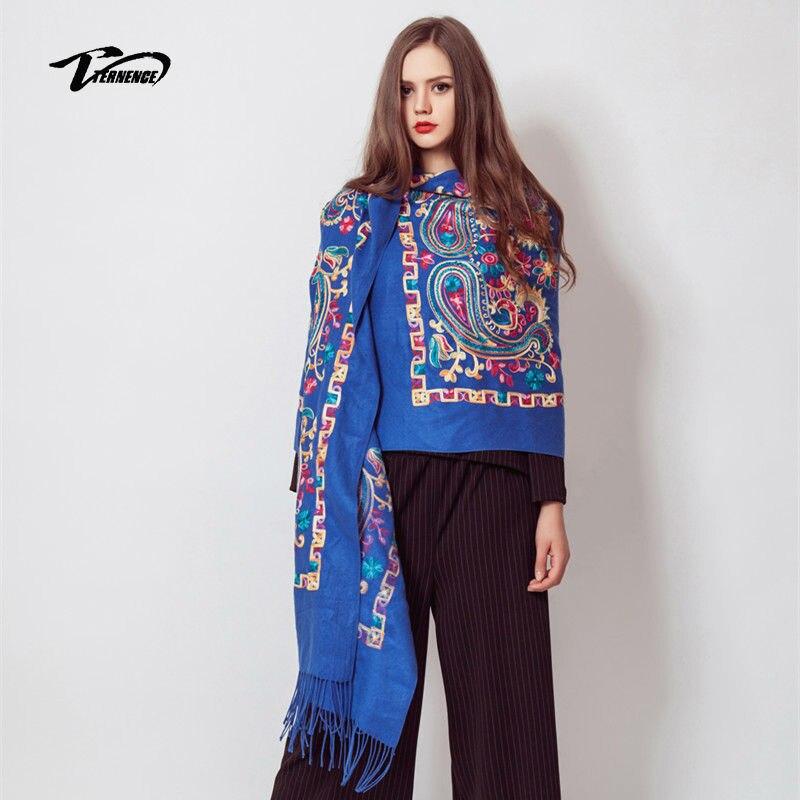 2017 Autumn Winter Floral Blue Woman Scarf Wrap Shawl Scarf Warm SoftHigh Luxury scarf