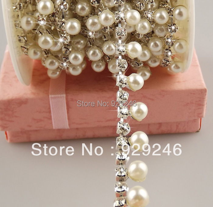 free shipment 2 yards 1cm ABS pearl clear crystal rhinestone chain trims aplique sofa artcraft house costume sewing decoration ...