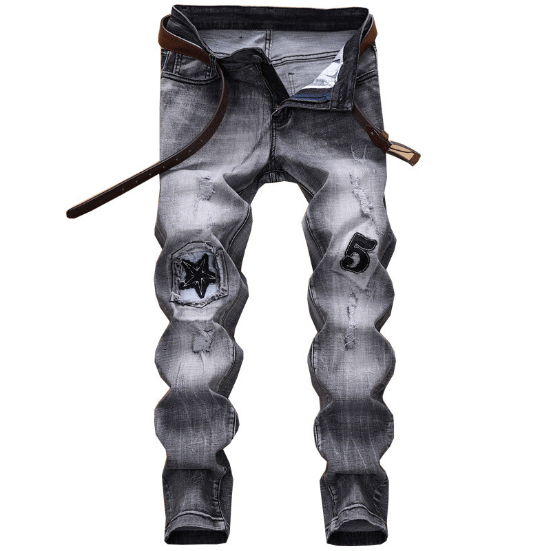 Newsosoo Fashion Men Ripped Jeans Pants With Patches Straight Stretch Patchwork Denim Trousers For Man Distressed Jean Joggers