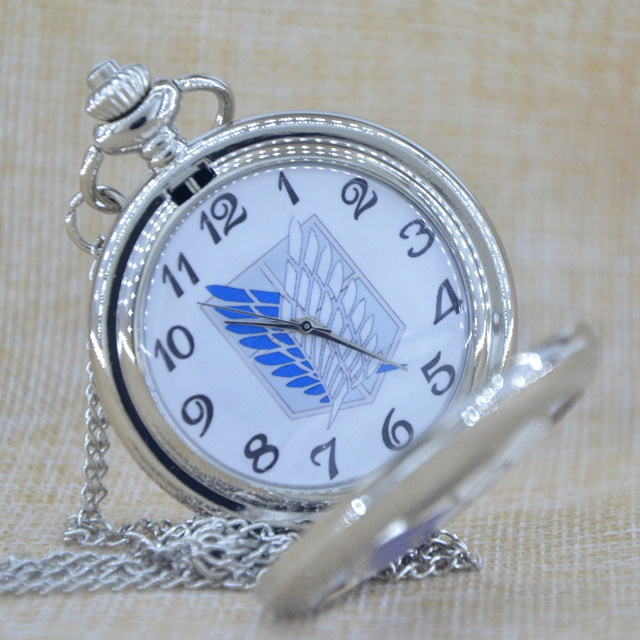 AOT Quartz Pocket Watch Pendant Necklace
