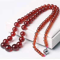 Dropshipping Orange garnet Natural Stone Necklace Round Beads Tower Chain Necklace for Women Fashion Jewelry JoursNeige