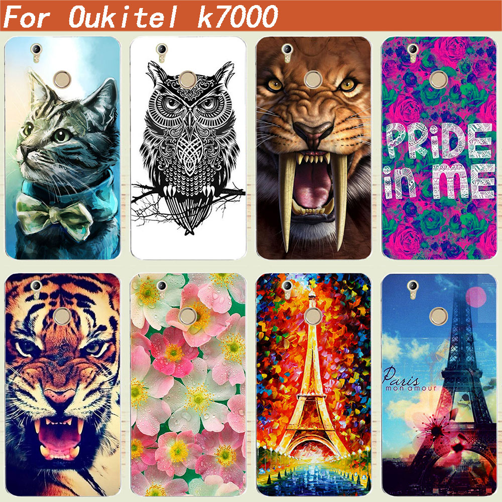 For Oukitel K7000 Case Cover Luxury DIY Tiger Owl Rose Eiffel Tower Painted Soft Tpu Back Cover For Oukitel K7000 5.0 Inch Cases